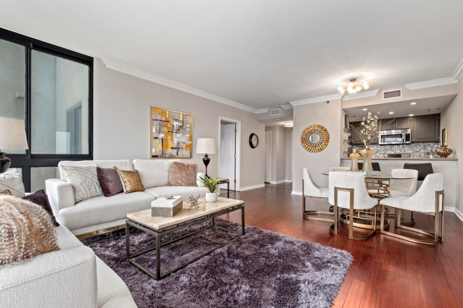 Living room space staged with Classic Staging furniture and accesories at Buckhead's Grandview unit 102 in Atlanta.